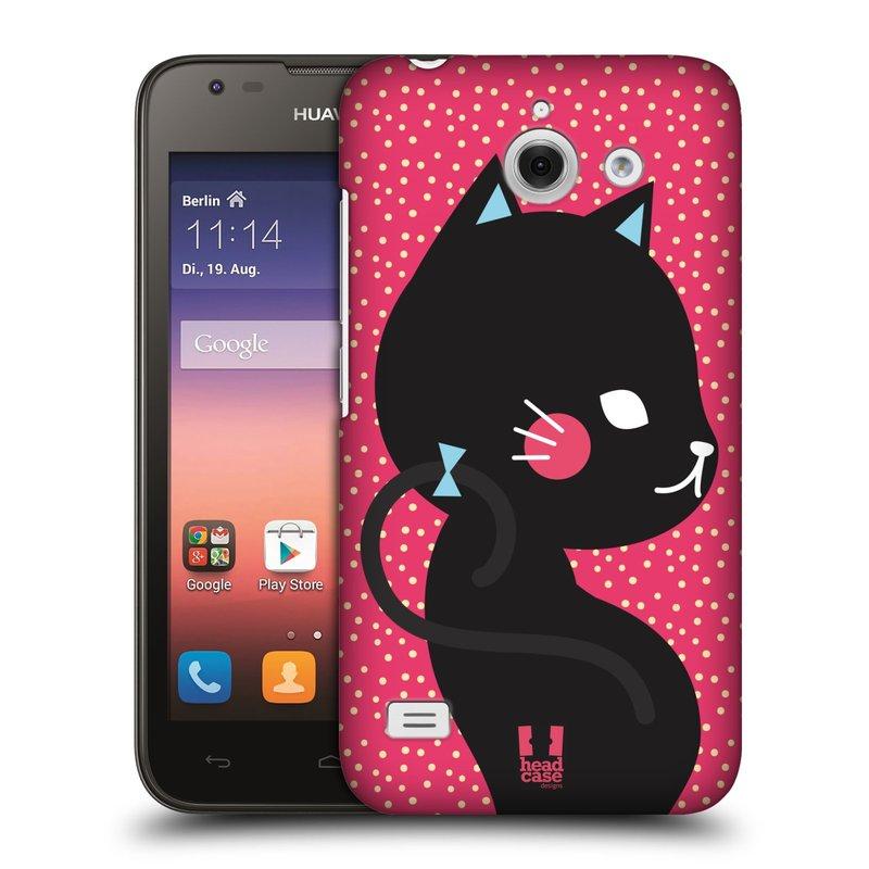 Plastové pouzdro na mobil Huawei Ascend Y550 HEAD CASE KOČIČKA ČERNÁ NA RŮŽOVÉ (Kryt či obal na mobilní telefon Huawei Ascend Y550)