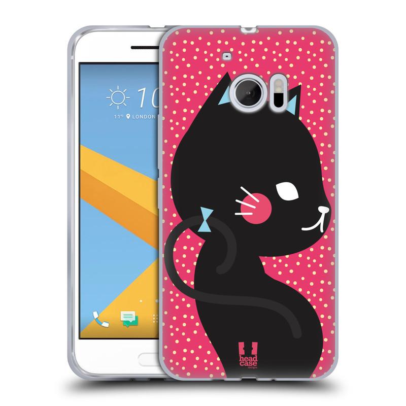 Silikonové pouzdro na mobil HTC 10 HEAD CASE KOČIČKA Černá NA RŮŽOVÉ (Silikonový kryt či obal na mobilní telefon HTC 10 (HTC One M10))