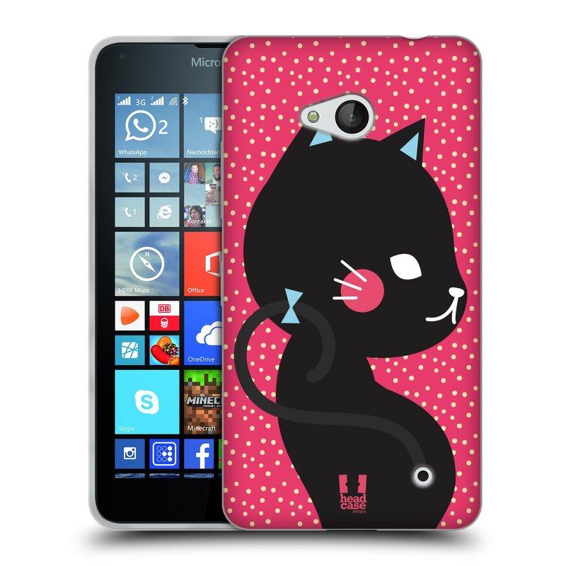 Silikonové pouzdro na mobil Microsoft Lumia 640 HEAD CASE KOČIČKA ČERNÁ NA RŮŽOVÉ (Silikonový kryt či obal na mobilní telefon Microsoft Lumia 640)