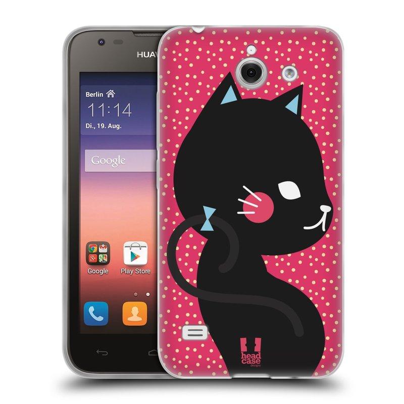 Silikonové pouzdro na mobil Huawei Ascend Y550 HEAD CASE KOČIČKA ČERNÁ NA RŮŽOVÉ (Silikonový kryt či obal na mobilní telefon Huawei Ascend Y550)