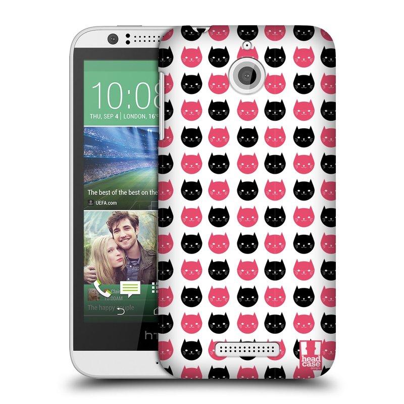 Plastové pouzdro na mobil HTC Desire 510 HEAD CASE KOČKY Black and Pink (Kryt či obal na mobilní telefon HTC Desire 510)