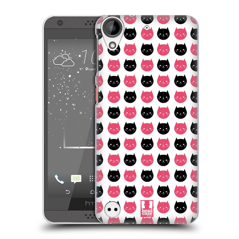 Plastové pouzdro na mobil HTC Desire 530 HEAD CASE KOČKY Black and Pink (Plastový kryt či obal na mobilní telefon HTC Desire 530)