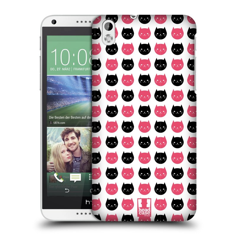Plastové pouzdro na mobil HTC Desire 816 HEAD CASE KOČKY Black and Pink (Kryt či obal na mobilní telefon HTC Desire 816)