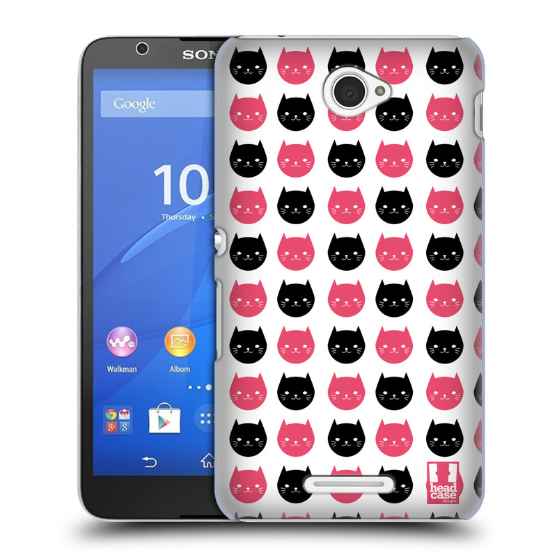 Plastové pouzdro na mobil Sony Xperia E4 E2105 HEAD CASE KOČKY Black and Pink (Kryt či obal na mobilní telefon Sony Xperia E4 a E4 Dual SIM)