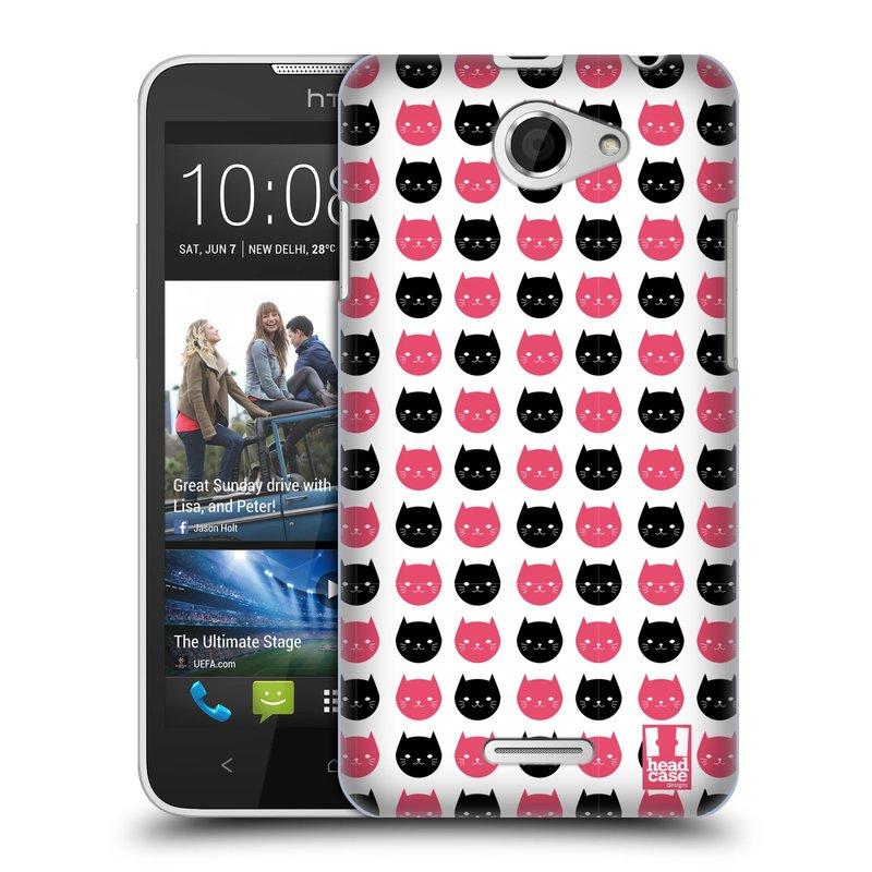 Plastové pouzdro na mobil HTC Desire 516 HEAD CASE KOČKY Black and Pink (Kryt či obal na mobilní telefon HTC Desire 516 Dual SIM)