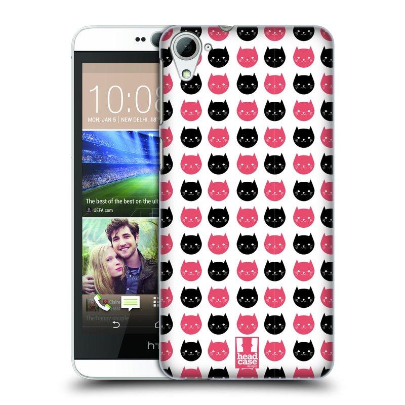 Plastové pouzdro na mobil HTC Desire 826 HEAD CASE KOČKY Black and Pink (Kryt či obal na mobilní telefon HTC Desire 826 Dual SIM)