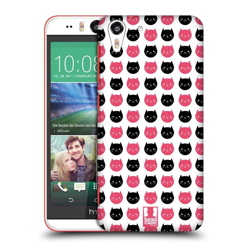 Plastové pouzdro na mobil HTC Desire EYE HEAD CASE KOČKY Black and Pink (Kryt či obal na mobilní telefon HTC Desire EYE)
