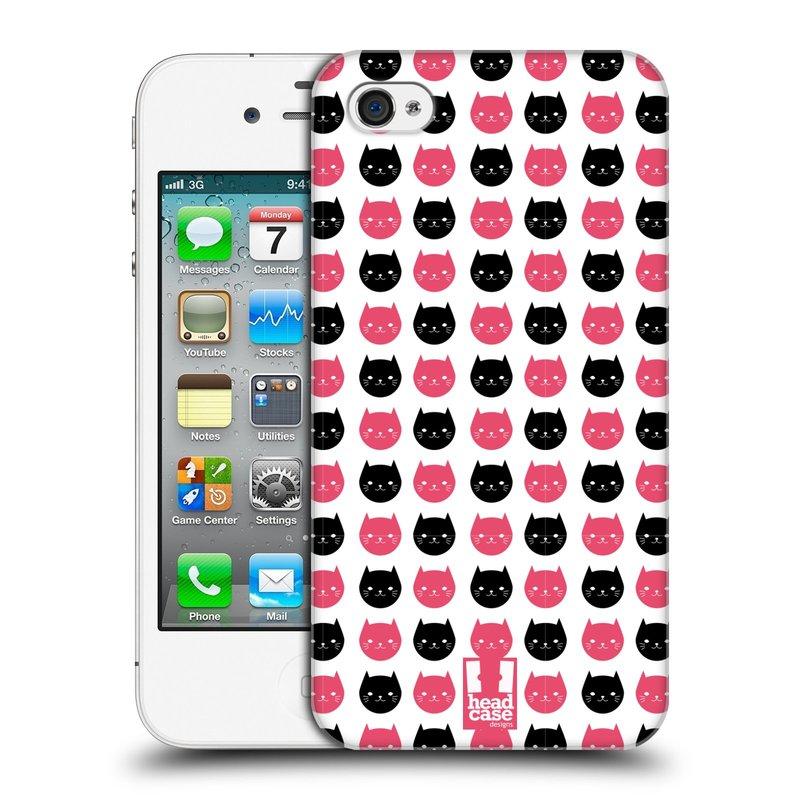 Plastové pouzdro na mobil Apple iPhone 4 a 4S HEAD CASE KOČKY Black and Pink (Kryt či obal na mobilní telefon Apple iPhone 4 a 4S)