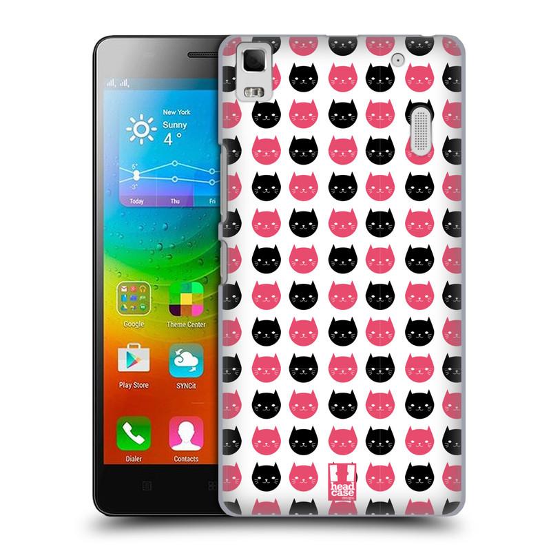 Plastové pouzdro na mobil Lenovo A7000 HEAD CASE KOČKY Black and Pink (Kryt či obal na mobilní telefon Lenovo A7000 / K3 Note)