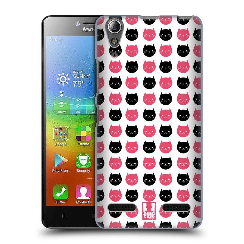 Plastové pouzdro na mobil Lenovo A6000 HEAD CASE KOČKY Black and Pink (Kryt či obal na mobilní telefon Lenovo A6000 / A6000 Plus)