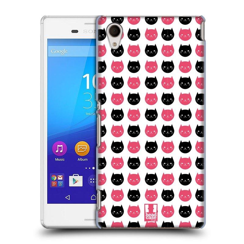 Plastové pouzdro na mobil Sony Xperia M4 Aqua E2303 HEAD CASE KOČKY Black and Pink (Kryt či obal na mobilní telefon Sony Xperia M4 Aqua a M4 Aqua Dual SIM)