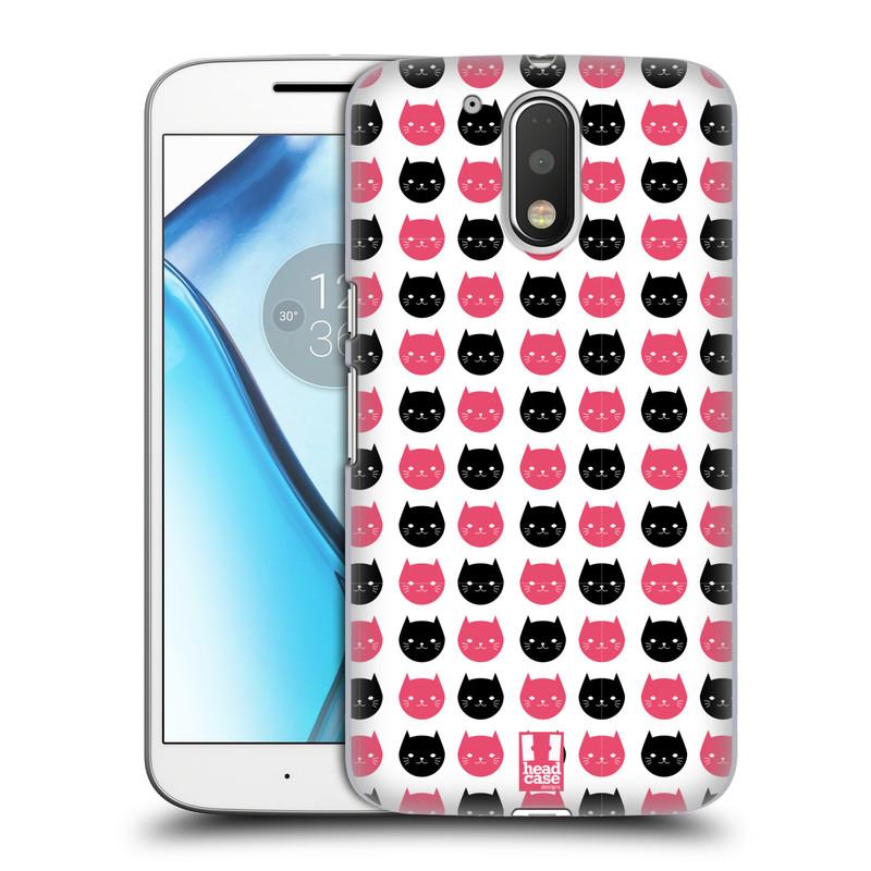 Plastové pouzdro na mobil Lenovo Moto G4 HEAD CASE KOČKY Black and Pink (Plastový kryt či obal na mobilní telefon Lenovo Moto G4 (Single a Dual SIM))