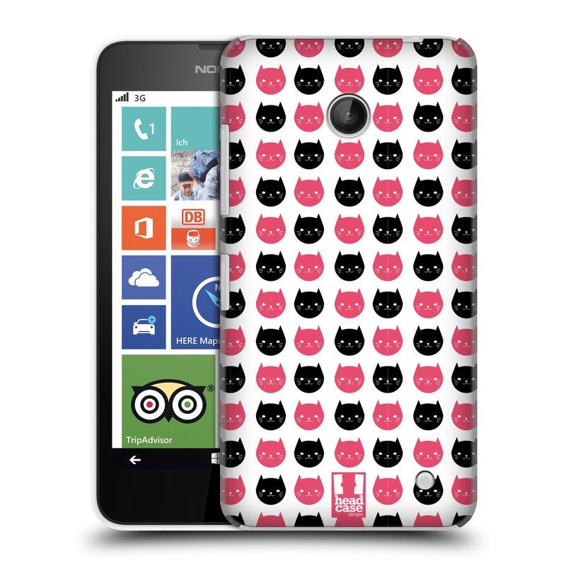 Plastové pouzdro na mobil Nokia Lumia 630 HEAD CASE KOČKY Black and Pink (Kryt či obal na mobilní telefon Nokia Lumia 630 a Nokia Lumia 630 Dual SIM)