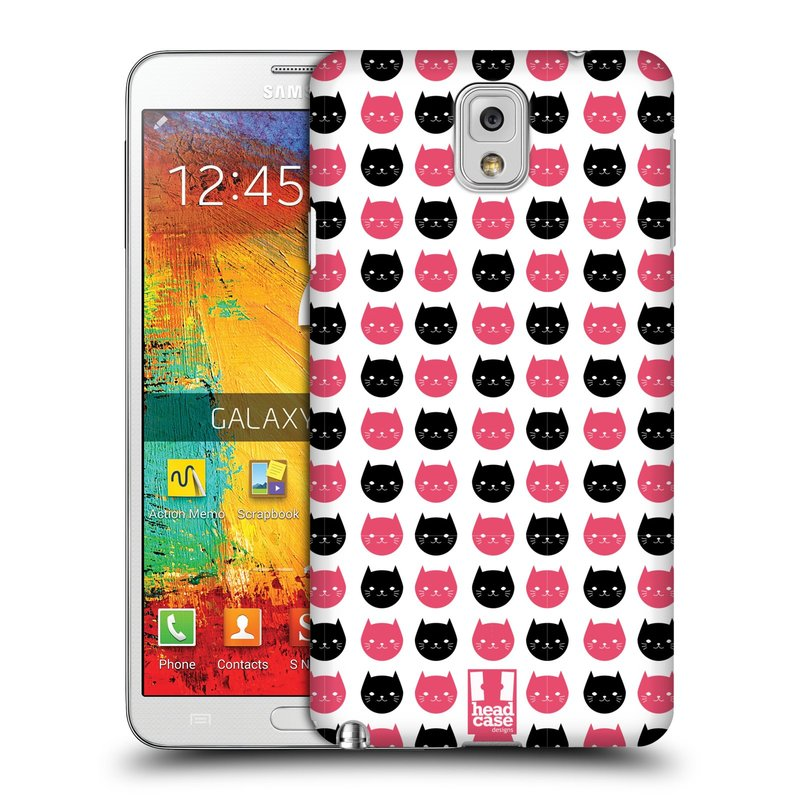 Plastové pouzdro na mobil Samsung Galaxy Note 3 HEAD CASE KOČKY Black and Pink (Kryt či obal na mobilní telefon Samsung Galaxy Note 3 SM-N9005)