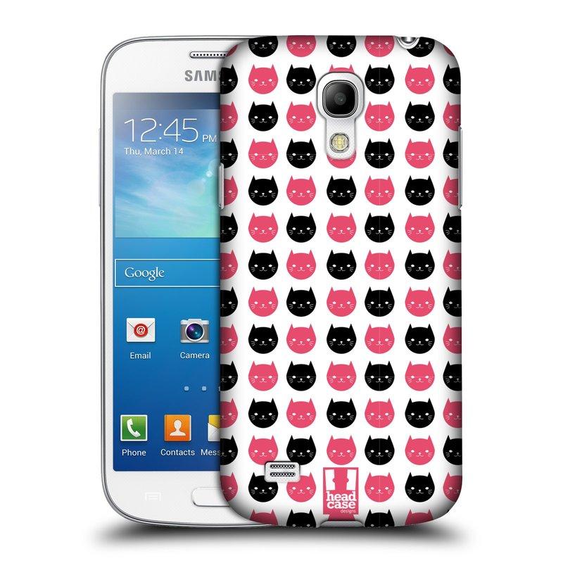 Plastové pouzdro na mobil Samsung Galaxy S4 Mini HEAD CASE KOČKY Black and Pink (Kryt či obal na mobilní telefon Samsung Galaxy S4 Mini GT-i9195 / i9190 (nepasuje na verzi Black Edition))