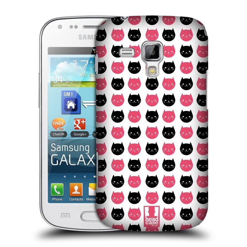 Plastové pouzdro na mobil Samsung Galaxy S Duos HEAD CASE KOČKY Black and Pink (Kryt či obal na mobilní telefon Samsung Galaxy S Duos GT-S7562)