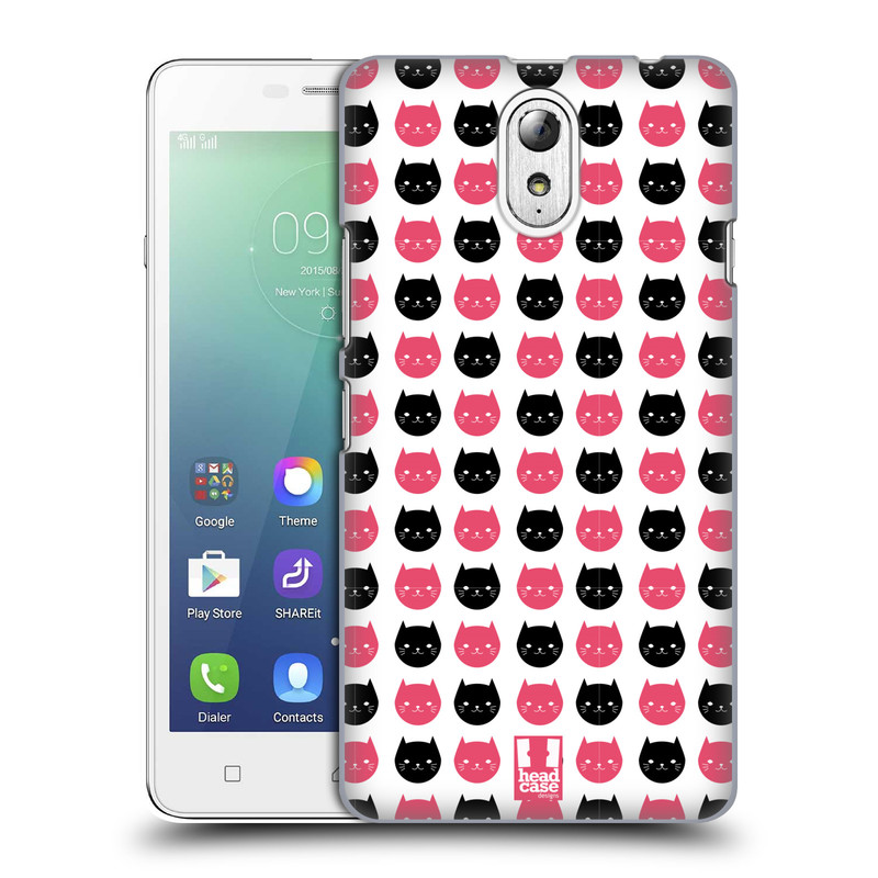 Plastové pouzdro na mobil Lenovo Vibe P1m HEAD CASE KOČKY Black and Pink (Kryt či obal na mobilní telefon Lenovo Vibe P1m)