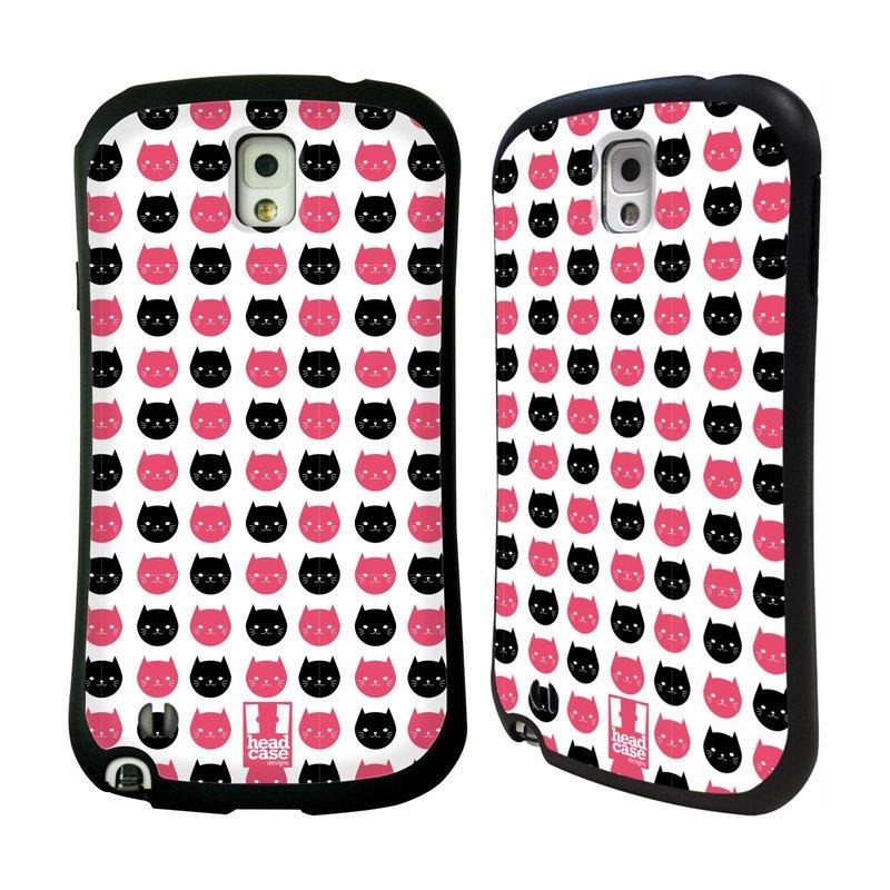 Nárazuvzdorné pouzdro na mobil Samsung Galaxy Note 3 HEAD CASE KOČKY Black and Pink (Odolný nárazuvzdorný silikonový kryt či obal na mobilní telefon Samsung Galaxy Note 3 SM-N9005)
