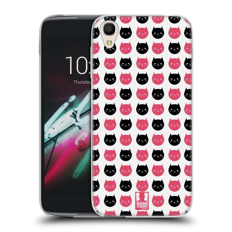 """Silikonové pouzdro na mobil Alcatel One Touch 6039Y Idol 3 HEAD CASE KOČKY Black and Pink (Silikonový kryt či obal na mobilní telefon Alcatel One Touch Idol 3 OT-6039Y s 4,7"""" displejem)"""