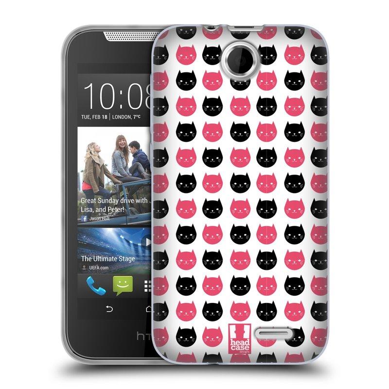 Silikonové pouzdro na mobil HTC Desire 310 HEAD CASE KOČKY Black and Pink (Silikonový kryt či obal na mobilní telefon HTC Desire 310)