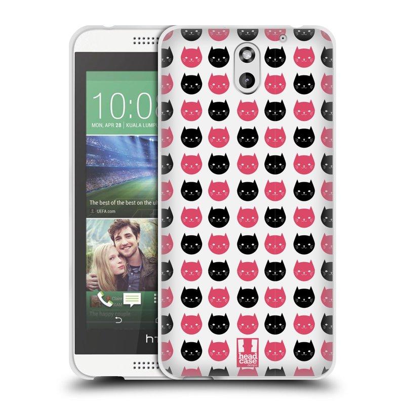 Silikonové pouzdro na mobil HTC Desire 610 HEAD CASE KOČKY Black and Pink (Silikonový kryt či obal na mobilní telefon HTC Desire 610)