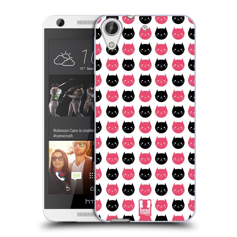 Silikonové pouzdro na mobil HTC Desire 626 / 626G HEAD CASE KOČKY Black and Pink (Silikonový kryt či obal na mobilní telefon HTC Desire 626 a 626G Dual SIM)