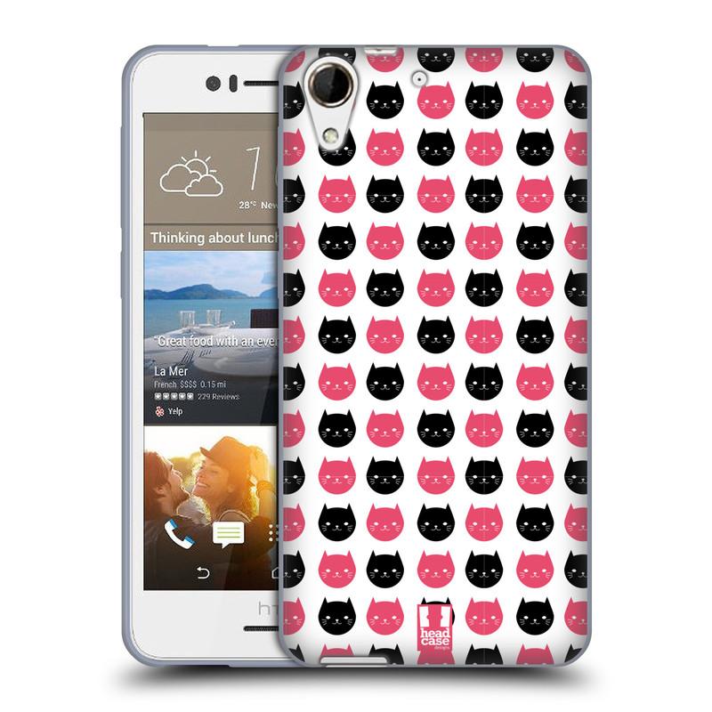 Silikonové pouzdro na mobil HTC Desire 728G Dual SIM HEAD CASE KOČKY Black and Pink (Silikonový kryt či obal na mobilní telefon HTC Desire 728 G Dual SIM)