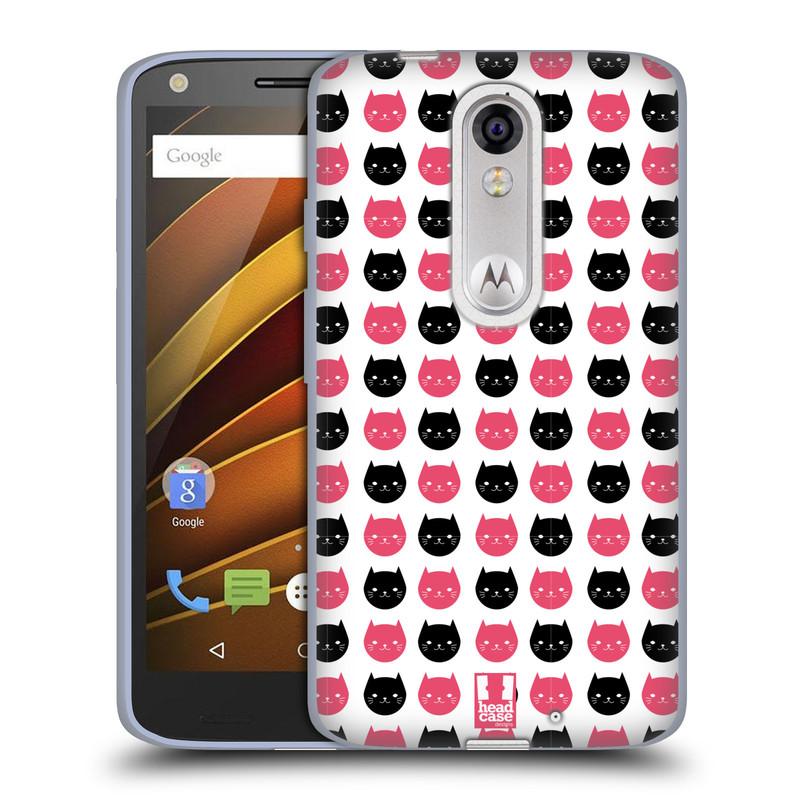 Silikonové pouzdro na mobil Lenovo Moto X Force HEAD CASE KOČKY Black and Pink (Silikonový kryt či obal na mobilní telefon Lenovo Moto X Force (Motorola))