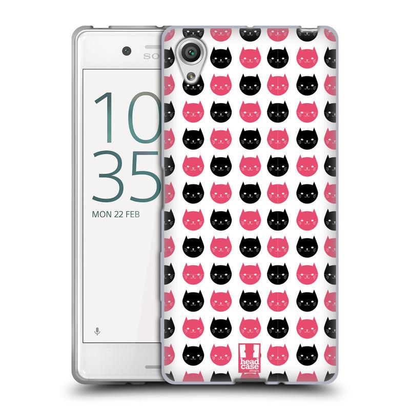 Silikonové pouzdro na mobil Sony Xperia X HEAD CASE KOČKY Black and Pink (Silikonový kryt či obal na mobilní telefon Sony Xperia X F5121 / Dual SIM F5122)