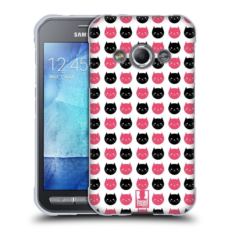 Silikonové pouzdro na mobil Samsung Galaxy Xcover 3 HEAD CASE KOČKY Black and Pink (Silikonový kryt či obal na mobilní telefon Samsung Galaxy Xcover 3 SM-G388F)