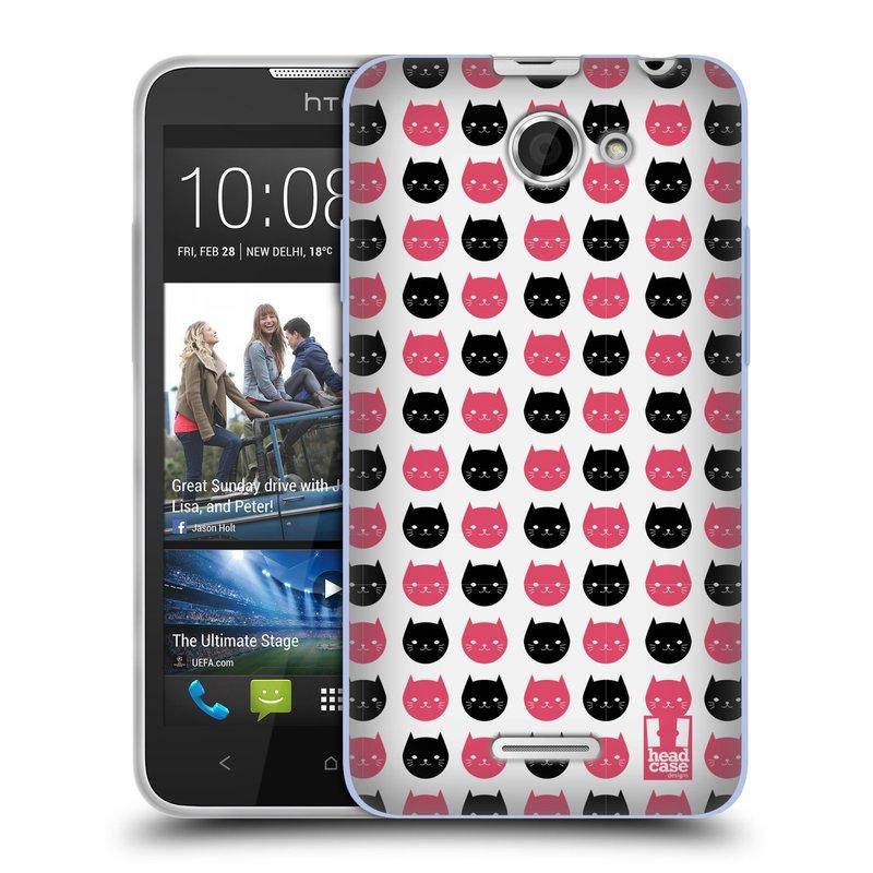 Silikonové pouzdro na mobil HTC Desire 516 HEAD CASE KOČKY Black and Pink (Silikonový kryt či obal na mobilní telefon HTC Desire 516 Dual SIM)