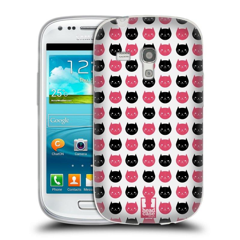 Silikonové pouzdro na mobil Samsung Galaxy S3 Mini VE HEAD CASE KOČKY Black and Pink (Silikonový kryt či obal na mobilní telefon Samsung Galaxy S3 Mini VE GT-i8200)