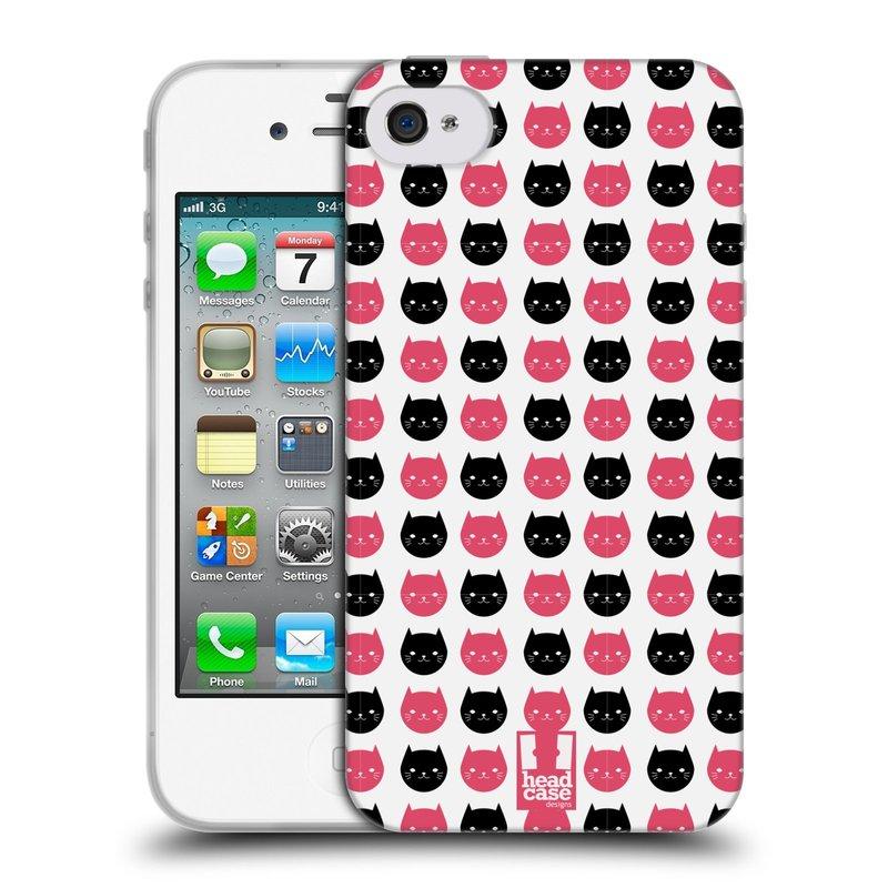 Silikonové pouzdro na mobil Apple iPhone 4 a 4S HEAD CASE KOČKY Black and Pink (Silikonový kryt či obal na mobilní telefon Apple iPhone 4 a 4S)