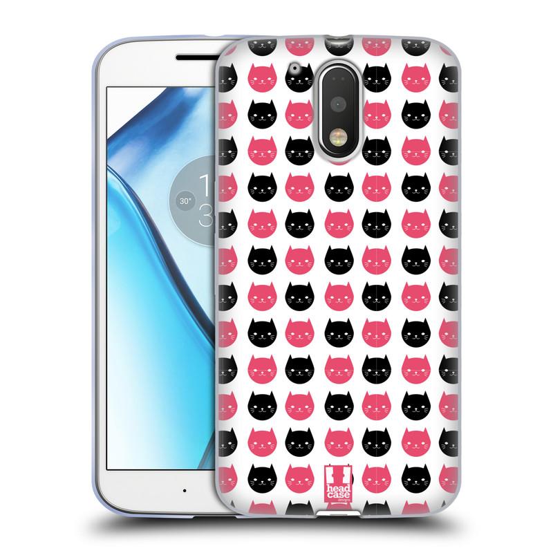 Silikonové pouzdro na mobil Lenovo Moto G4 HEAD CASE KOČKY Black and Pink (Silikonový kryt či obal na mobilní telefon Lenovo Moto G4 (Single a Dual SIM))