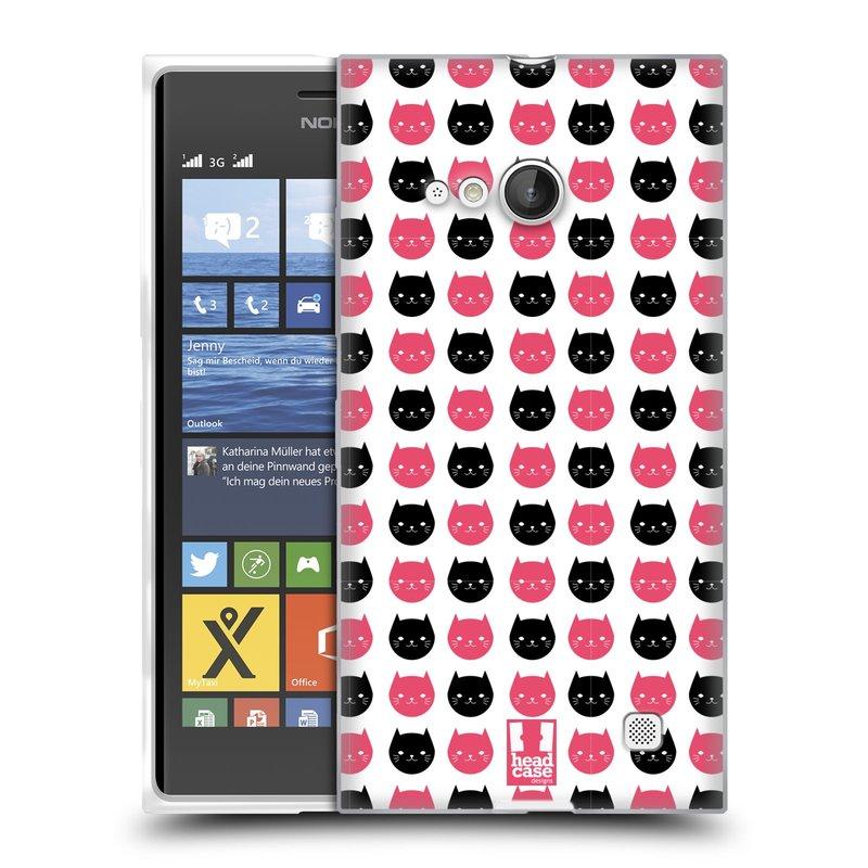 Silikonové pouzdro na mobil Nokia Lumia 730 Dual SIM HEAD CASE KOČKY Black and Pink (Silikonový kryt či obal na mobilní telefon Nokia Lumia 730 Dual SIM)
