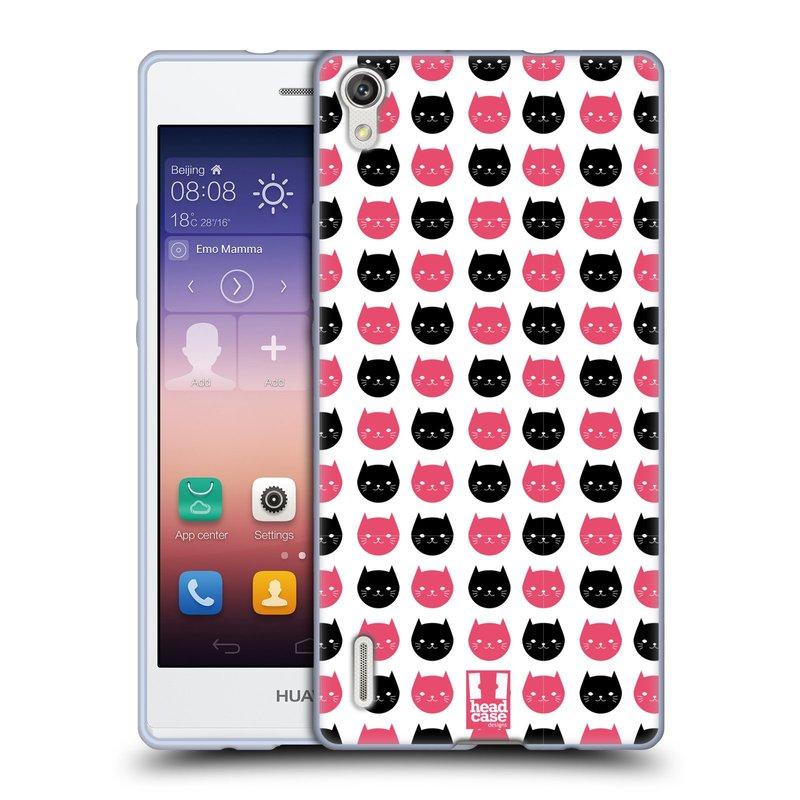 Silikonové pouzdro na mobil Huawei P7 HEAD CASE KOČKY Black and Pink (Silikonový kryt či obal na mobilní telefon Huawei Ascend P7)