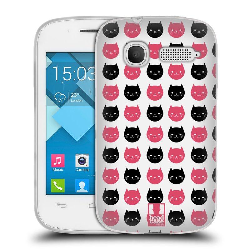 Silikonové pouzdro na mobil Alcatel One Touch Pop C1 HEAD CASE KOČKY Black and Pink (Silikonový kryt či obal na mobilní telefon Alcatel OT-4015D POP C1)