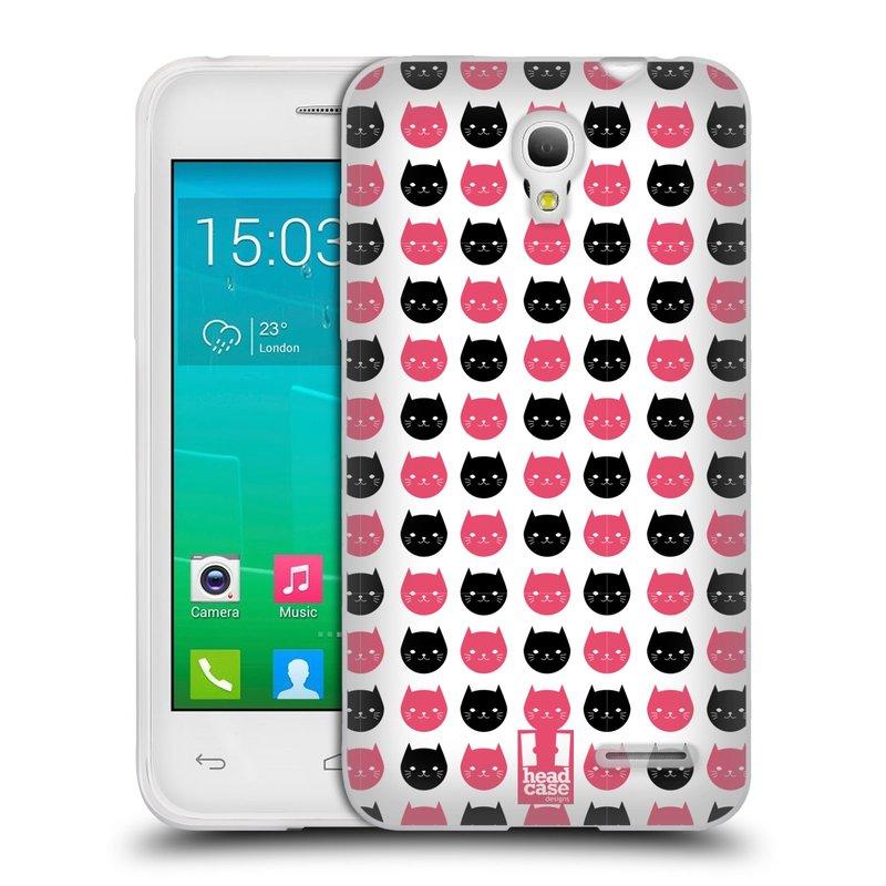 Silikonové pouzdro na mobil Alcatel One Touch Pop S3 HEAD CASE KOČKY Black and Pink (Silikonový kryt či obal na mobilní telefon Alcatel OT- 5050Y POP S3)
