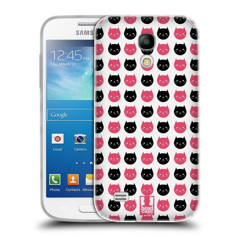 Silikonové pouzdro na mobil Samsung Galaxy S4 Mini VE HEAD CASE KOČKY Black and Pink (Silikonový kryt či obal na mobilní telefon Samsung Galaxy S4 Mini VE GT-i9195i (nepasuje na verzi Black Edition))