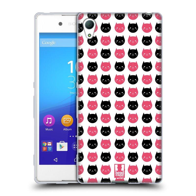 Silikonové pouzdro na mobil Sony Xperia Z3+ (Plus) HEAD CASE KOČKY Black and Pink (Silikonový kryt či obal na mobilní telefon Sony Xperia Z3+ / Z4 E6553)