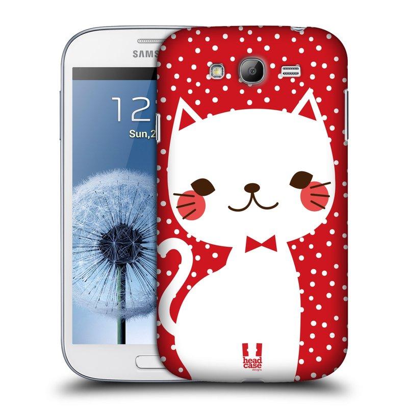 Plastové pouzdro na mobil Samsung Galaxy Grand Neo HEAD CASE KOČIČKA BÍLÁ NA ČERVENÉ (Kryt či obal na mobilní telefon Samsung Galaxy Grand Neo GT-i9060)