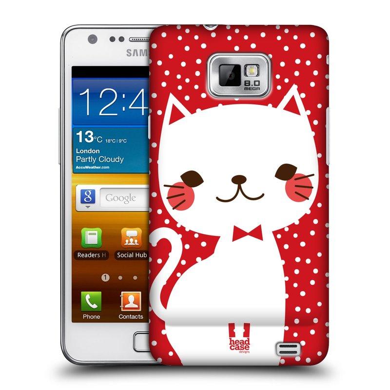 Plastové pouzdro na mobil Samsung Galaxy S II HEAD CASE KOČIČKA BÍLÁ NA ČERVENÉ (Kryt či obal na mobilní telefon Samsung Galaxy S II GT-i9100)
