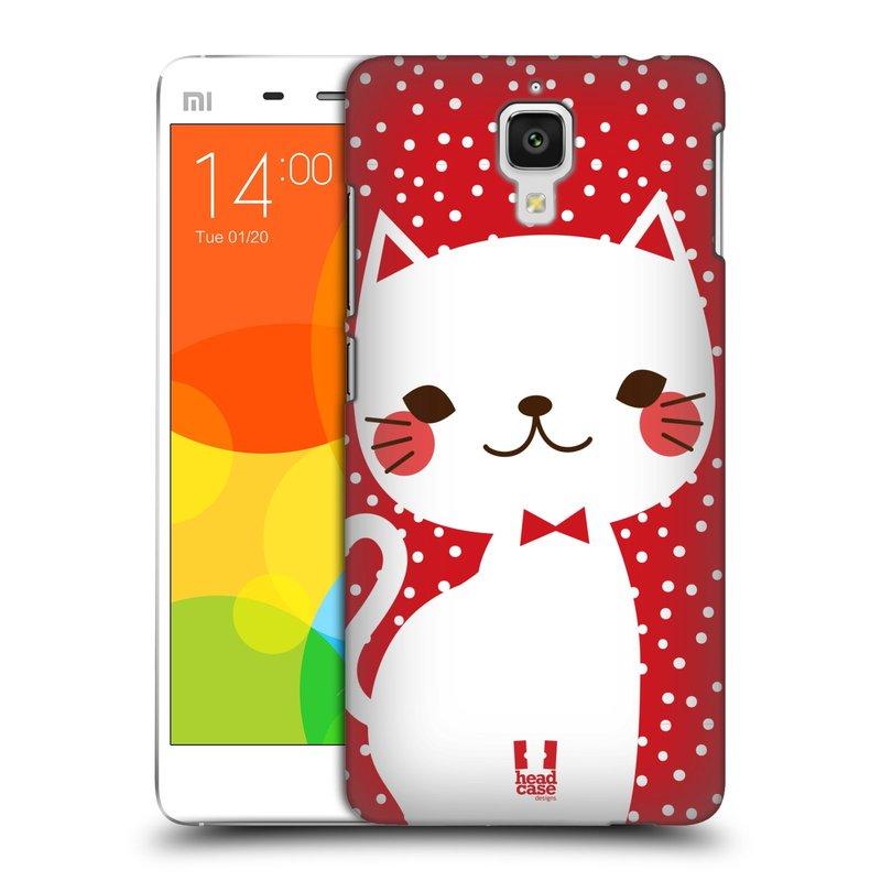 Plastové pouzdro na mobil Xiaomi Mi4 HEAD CASE KOČIČKA BÍLÁ NA ČERVENÉ (Kryt či obal na mobilní telefon Xiaomi Mi4)