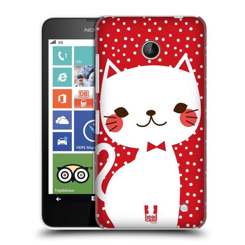 Plastové pouzdro na mobil Nokia Lumia 630 HEAD CASE KOČIČKA BÍLÁ NA ČERVENÉ (Kryt či obal na mobilní telefon Nokia Lumia 630 a Nokia Lumia 630 Dual SIM)