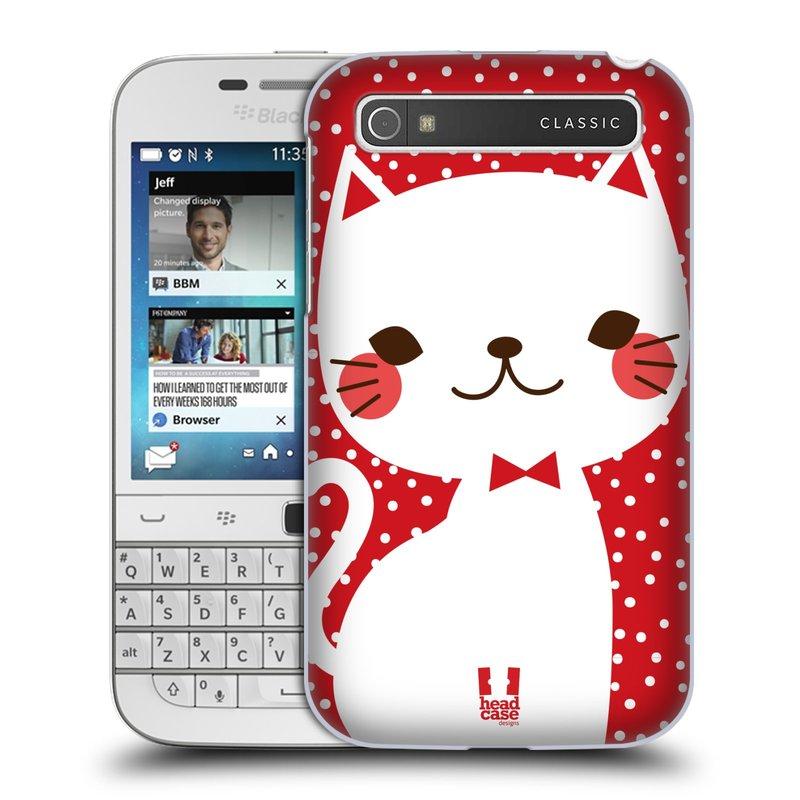 Plastové pouzdro na mobil Blackberry Classic HEAD CASE KOČIČKA BÍLÁ NA ČERVENÉ (Kryt či obal na mobilní telefon Blackberry Classic)