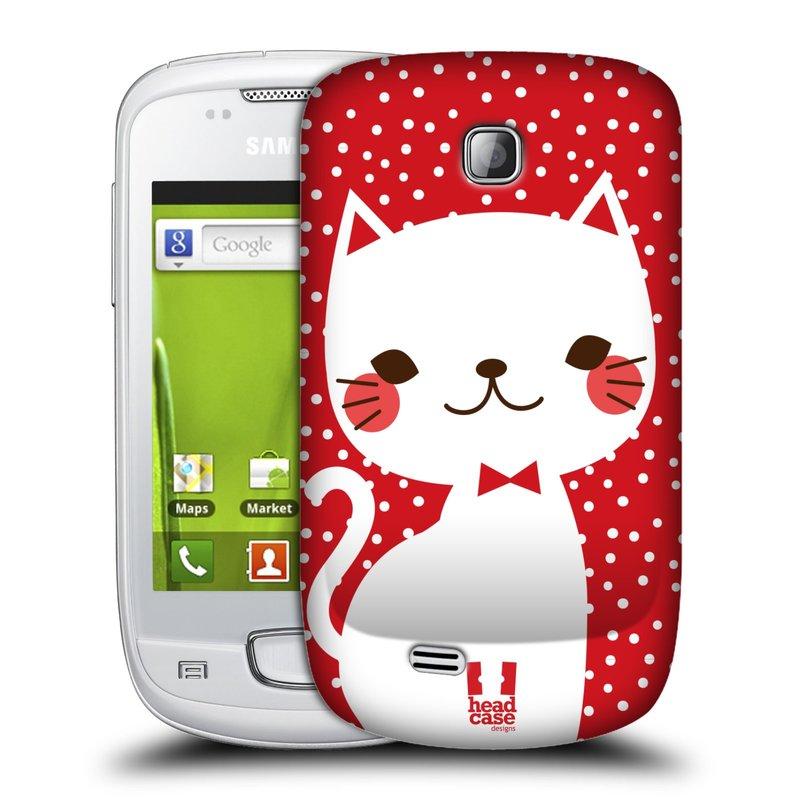 Plastové pouzdro na mobil Samsung Galaxy Mini HEAD CASE KOČIČKA BÍLÁ NA ČERVENÉ (Kryt či obal na mobilní telefon Samsung Galaxy Mini GT-S5570 / GT-S5570i)