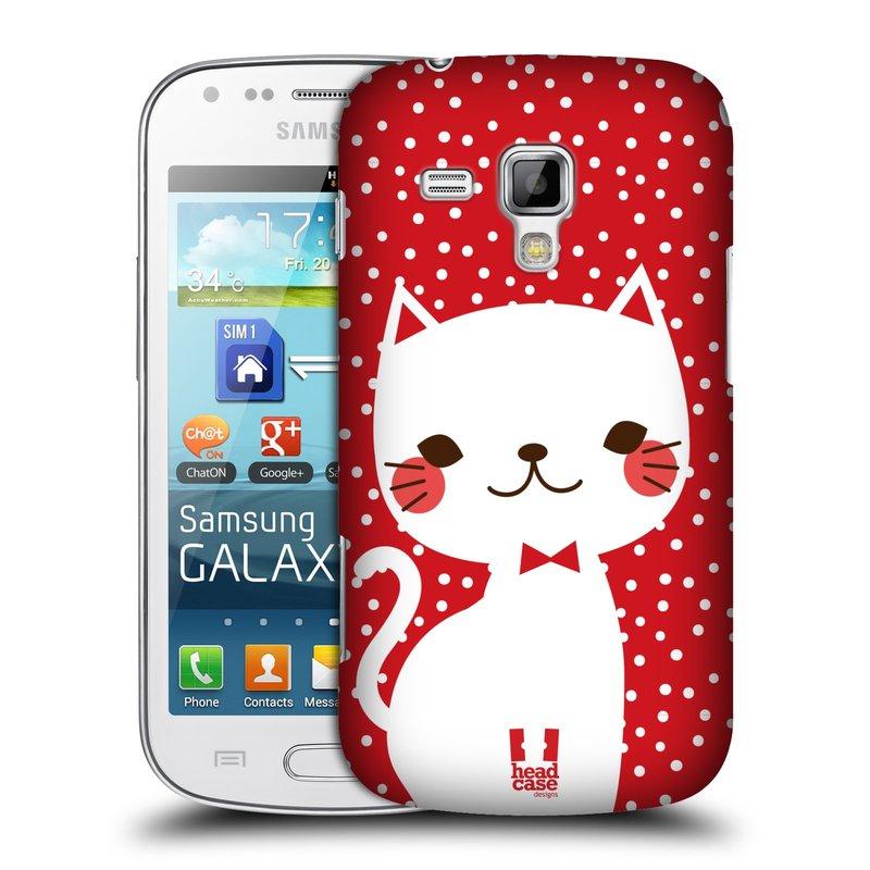 Plastové pouzdro na mobil Samsung Galaxy Trend Plus HEAD CASE KOČIČKA BÍLÁ NA ČERVENÉ (Kryt či obal na mobilní telefon Samsung Galaxy Trend Plus GT-S7580)