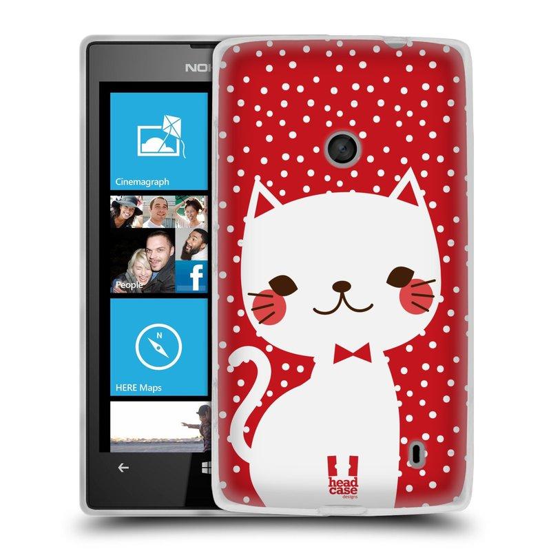 Silikonové pouzdro na mobil Nokia Lumia 520 HEAD CASE KOČIČKA BÍLÁ NA ČERVENÉ (Silikonový Kryt či obal na mobilní telefon Nokia Lumia 520)