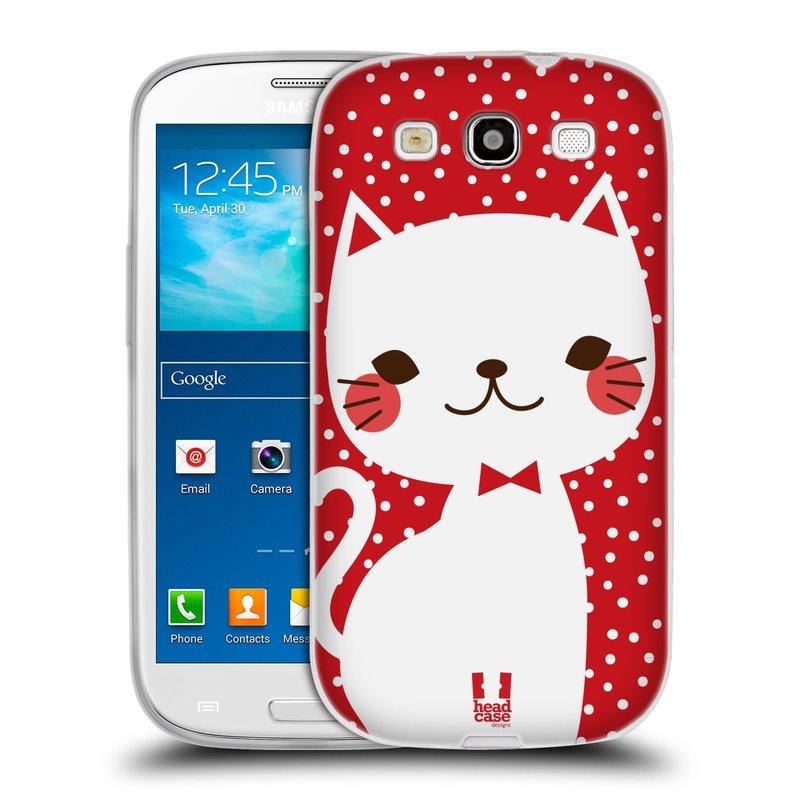Silikonové pouzdro na mobil Samsung Galaxy S3 Neo HEAD CASE KOČIČKA BÍLÁ NA ČERVENÉ (Silikonový kryt či obal na mobilní telefon Samsung Galaxy S3 Neo GT-i9301i)