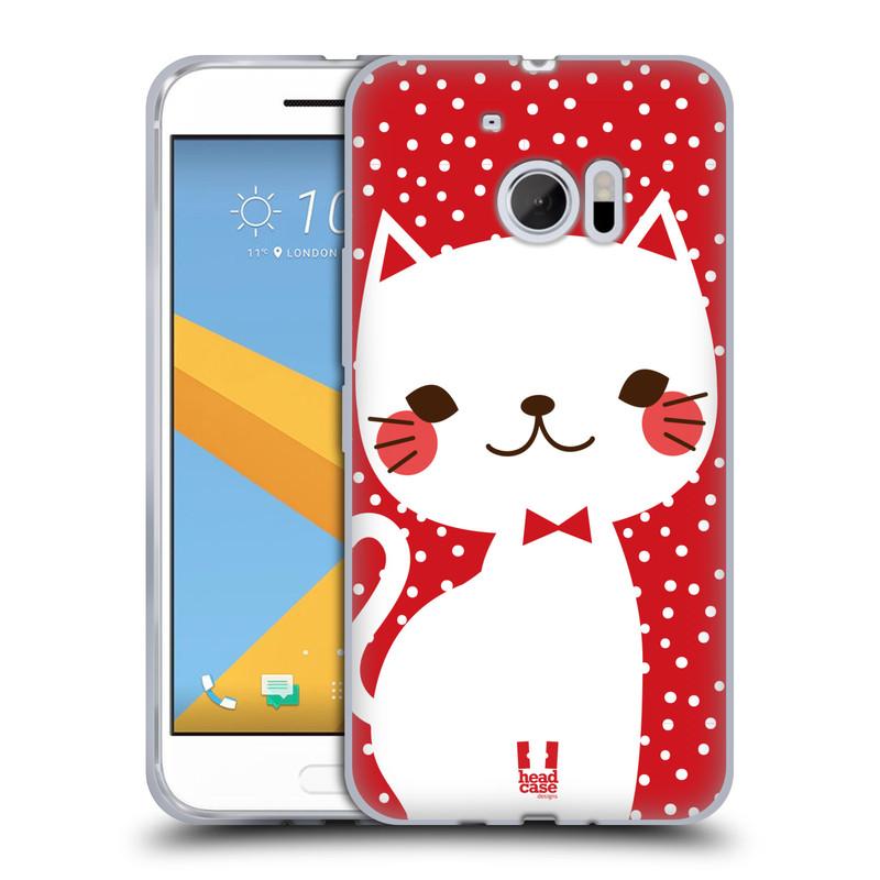 Silikonové pouzdro na mobil HTC 10 HEAD CASE KOČIČKA Bílá NA ČERVENÉ (Silikonový kryt či obal na mobilní telefon HTC 10 (HTC One M10))
